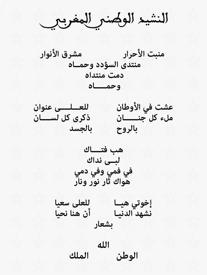 شرح كلمات النشيد الوطني المغربي مكتوب