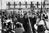 A warm welcome to His Majesty King Mohamed V at Casablanca after his return from exile