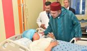 HM King Mohammed VI visits at the Ibnu Rochd University hospital victims of the collapse of three residential buildings in Casablanca