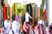 El Emir de Qatar, Su Alteza Cheikh Tamim Ben Hamad Al Thani, ofrece una ceremonia de recepción oficial en honor de SM el Rey Mohammed VI