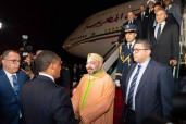 SM el Rey Mohammed VI llega a Brazzaville para participar en la Cumbre de los Jefes de Estado y de Gobierno de la Comisión Clima y del Fondo Azul de la Cuenca del Congo