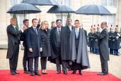SM el Rey Mohammed VI llega al Palacio del Elíseo para participar en la ceremonia internacional de conmemoración del centenario del Armisticio del 11 de noviembre de 1918