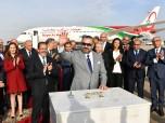 SM el Rey Mohammed VI coloca la primera piedra de una nueva terminal en el aeropuerto de Rabat-Salé y lanza la nueva generación de los aviones de Royal Air Maroc (RAM)
