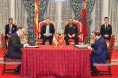 SM el Rey Mohammed VI y SM el Rey Felipe VI de España presiden, en el Palacio de Huéspedes en Rabat, la ceremonia de firma de varios acuerdos de cooperación bilateral