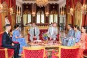SM el Rey Mohammed VI ofrece, en la Residencia Real en Salé, una ceremonia de té en honor al Príncipe Enrique y a su esposa Meghan Markle, duques de Sussex