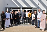 HM King Mohammed VI poses for a souvenir photo at the end of the Sovereign's visit to the training Centre for hotel and tourism professions in Temara