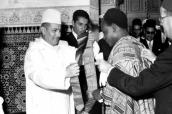 King Mohammed V decorates the Ghanaian President Mr. Kwame Nkrumah
