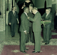 His Majesty King Hassan II decorates the President of Senegal, member of the Academy of the kingdom of Morocco Mr Leopold Sedar Senghor - Rabat, 1982