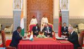 SM el Rey Mohammed VI y el Presidente de la República de Costa de Marfil, Alassane Dramane Ouattara presiden, en el Palacio Real de Marrakech, la ceremonia de firma de varios acuerdos bilaterales en distintos ámbitos