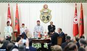 SM el Rey Mohammed VI y el presidente tunecino, Moncef Marzouki, presiden, en el Palacio Cartago en Túnez, la ceremonia de firma de varios convenios bilaterales