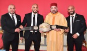 HM King Mohammed VI receives, at Rabat Royal Palace, the brothers Abu Bakr and Ottman Azaitar, world champions of the Mixed Martial Arts (MMA)