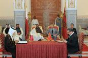 HM King Mohammed VI and Emir of the State of Qatar HH Sheikh Tamim Bin Hamad Al Thani,chair, at the Marrakech Royal Palace, the signing ceremony of four cooperation agreements in several fields