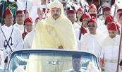 SM el Rey Mohammed VI, Amir Al-Muminin preside, en la plaza de Mechouar del Palacio Real en Rabat, la ceremonia de pleitesía en conmemoración del 15 aniversario de la entronización del Soberano