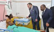 HM King Mohammed VI and Gabonese president Ali Bongo Ondimba visit the Libreville Cancer Treatment Institute, located at the Agondjé University Hospital Center (CHU), north of the Gabonese capital