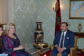 HM King Mohammed VI receives, at the royal residence in Abidjan, the First Lady of Côte d'Ivoire, Mrs. Dominique Claudine Ouattara