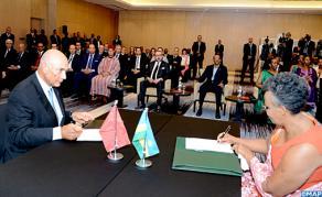 SM le Roi et le Chef de l'Etat Rwandais président la cérémonie de signature d'un mémorandum d'entente entre la «Fondation Mohammed VI pour le développement durable» et «Imbuto Foundation»