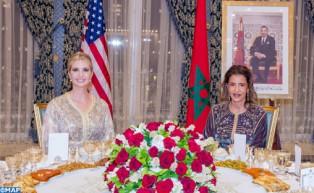 جلالة الملك يقيم مأدبة عشاء على شرف السيدة إيفانكا ترامب ترأستها صاحبة السمو الملكي الأميرة للا مريم