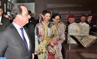 """صاحبة السمو الملكي الأميرة للا مريم والرئيس الفرنسي يترأسان بباريس افتتاح معرض """" روائع الكتابة بالمغرب، مخطوطات نادرة تعرض لأول مرة """""""
