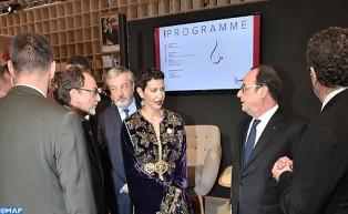 صاحبة السمو الملكي الأميرة للامريم والرئيس الفرنسي يدشنان جناح المغرب بمعرض الكتاب بباريس