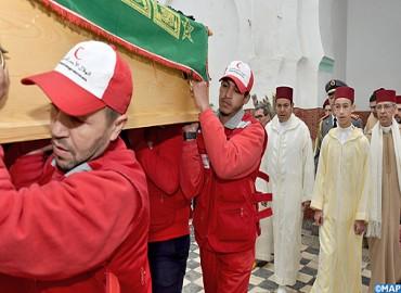 Obsèques à Marrakech de Feu M'hamed Boucetta en présence de SAR le Prince Héritier Moulay El Hassan et de SAR le Prince Moulay Rachid