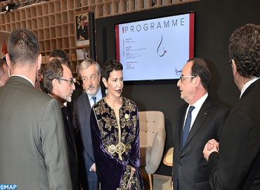 SAR la Princesse Lalla Meryem et le président français inaugurent le pavillon du Maroc au Salon du Livre de Paris