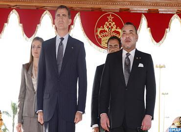 حفل استقبال رسمي بالرباط على شرف عاهلا إسبانيا الملك فيليبي السادس والملكة ليتيثيا