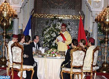 جلالة الملك يقيم مأدبة عشاء رسمية على شرف الرئيس الفرنسي والسيدة فاليري تريرويلر