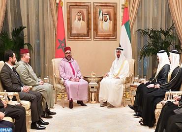 جلالة الملك محمد السادس يتباحث بأبو ظبي مع سمو الشيخ محمد بن زايد آل نهيان حول الارتقاء بالعلاقات الثنائية بين البلدين