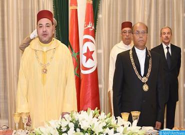 جلالة الملك يبعث برقية شكر وامتنان إلى الرئيس المنصف المرزوقي في ختام زيارته لتونس