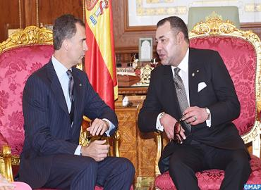 جلالة الملك يتباحث مع العاهل الإسباني الملك فيليبي السادس