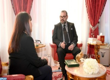 He aquí un comunicado del Gabinete Real: Su Majestad el Rey Mohammed VI recibe  a Amina Bouayach