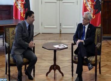 Le président du Chili reçoit en audience M. Nasser Bourita, porteur d'un message de SM le Roi Mohammed VI