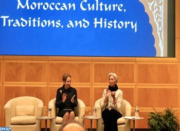 Lalla Joumala Alaoui, Christine Lagarde Chair Ceremony in Washington Celebrating Morocco & its History